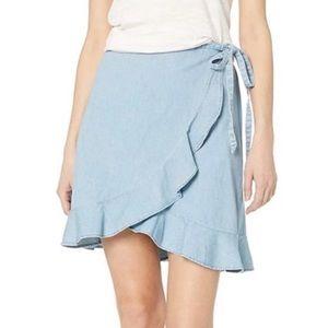NWOT J Crew Light Blue Denim Wrap Skirt